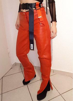 Red biker pants reworked