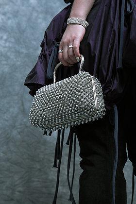 Metal mesh and beads purse