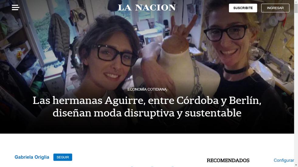 """Media Clipping. Diario La Nación """"Las hermanas Aguirre, entre Córdoba y Berlín, diseñan moda di"""