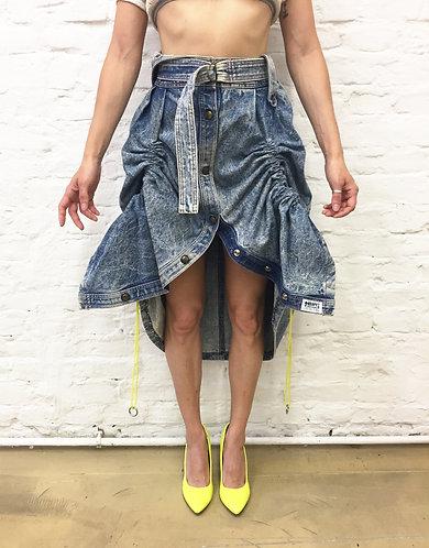 80s denim skirt reworked - Ambulance Skirt