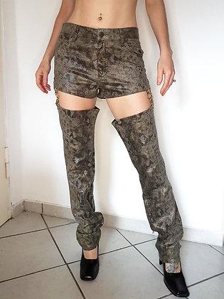 Golden Snake cut-off leg pants
