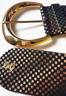 Vintage D&G Gold Black Leather Belt