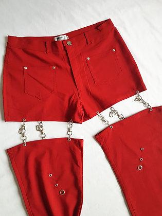 Red Cut-off leg Pant L