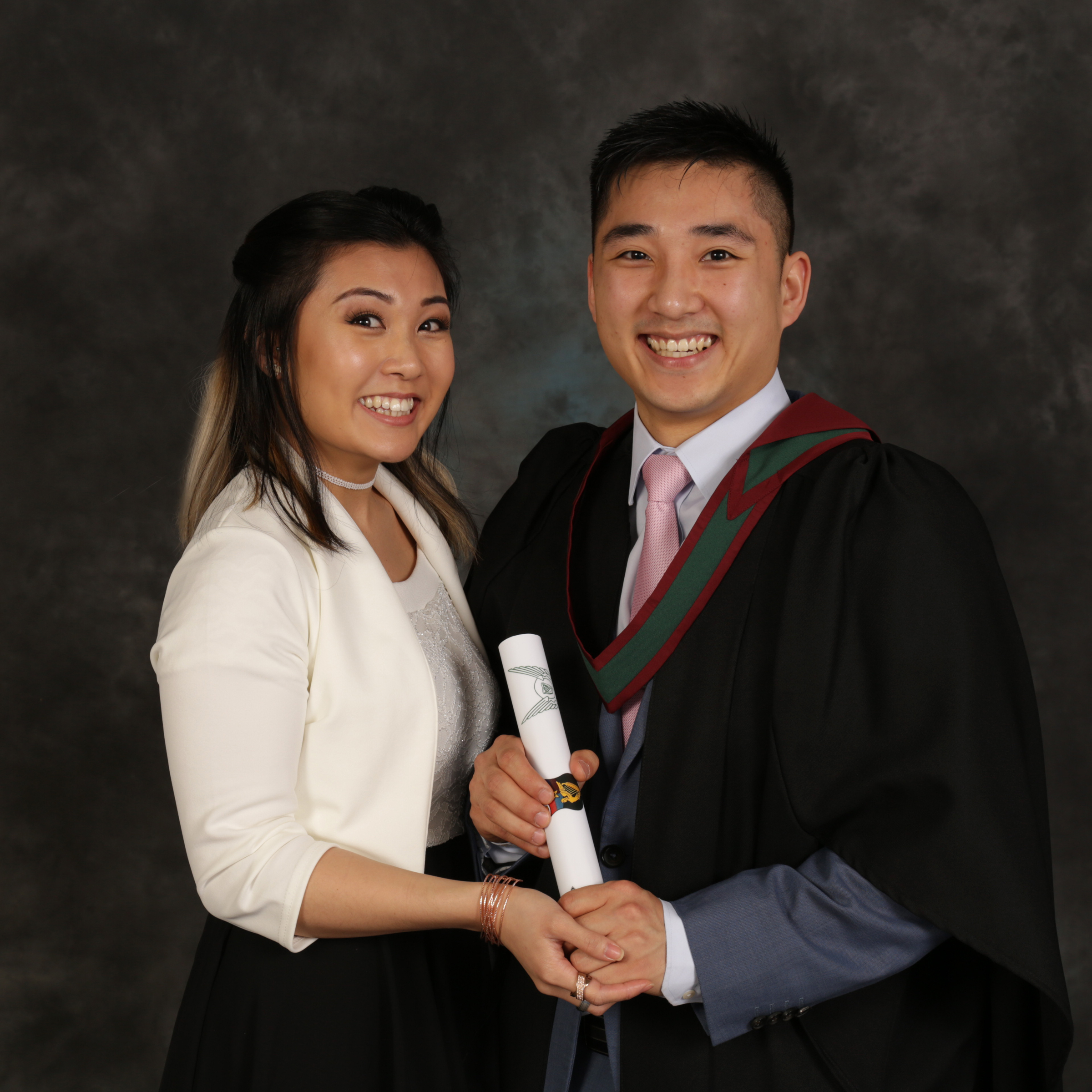 Graduation portrait couple.