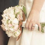 White green and cream wedding handtied bouquet