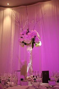 hydrangea wedding table arrangement in white