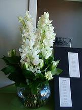 corporate flower arrangement in vase