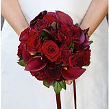 Wedding bouquet in red and purples