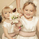 Flower girls and bouquets