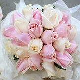 Wedding bouquet in pink and peaches