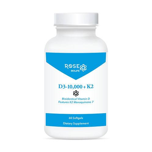 Vitamin D3-10,000 + K2 60 Softgels