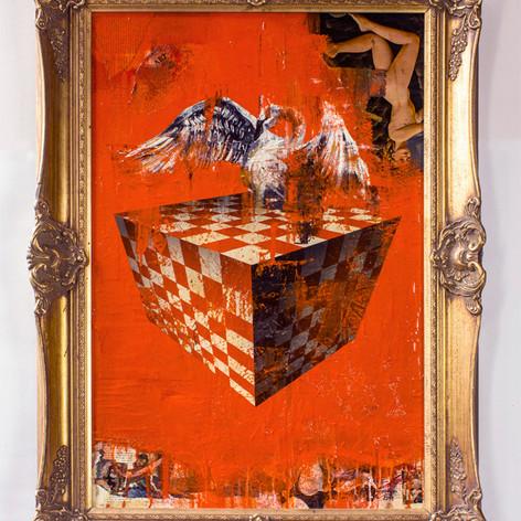 Orange Swan on Cube
