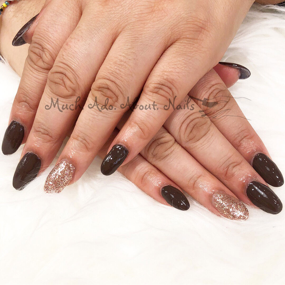Brown-and-glitter-nails