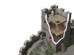 A cut-away of a corner tower