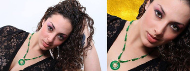 Jessie in Green Jade Before and After