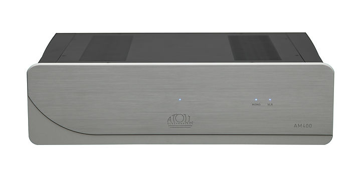 Atoll Electronics Gamme 400 reference ultimate level amplifier with low feed back, dual mono, discrete circuits and bridgeable for over 600 watts.  The amplifier feature RCA and Balanced inputs and RCA outputs for easy expansio or bi-amping.  An amplifier