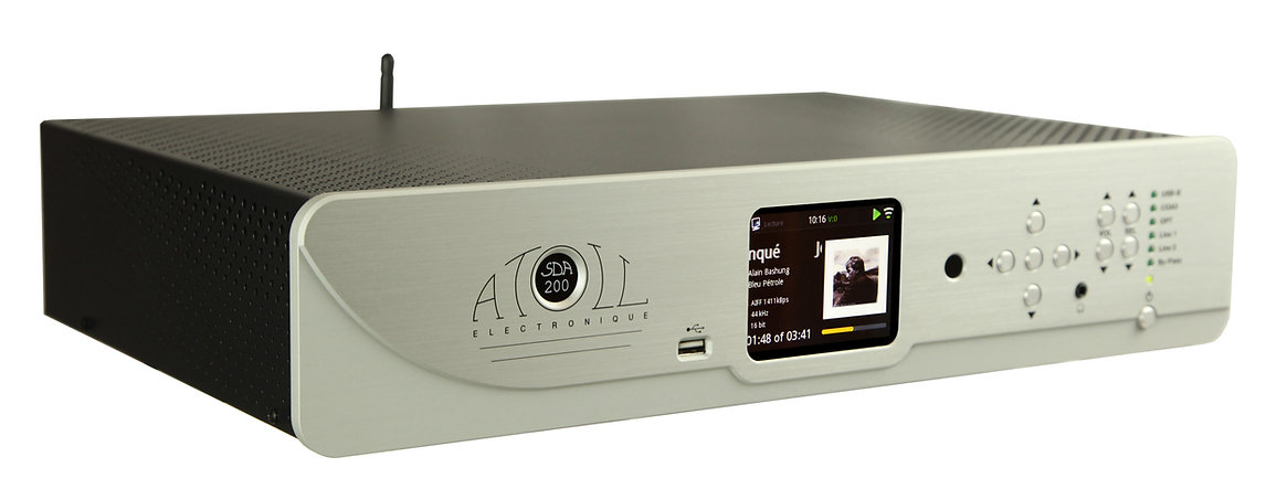 Atoll Electronics all in one music player, streaming client, DAC, analog preamp, Internet radio, Apple app, google playstore app. , NAS drive and two analog inputs and outputs means this player is scalable and sophisticated and powerful with 120 watts X 2.