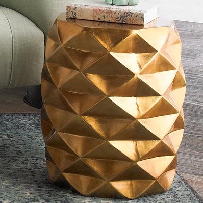 Banc d'appoint géométrique doré