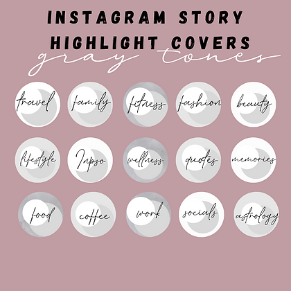 Gray Tones Instagram Highlight Covers
