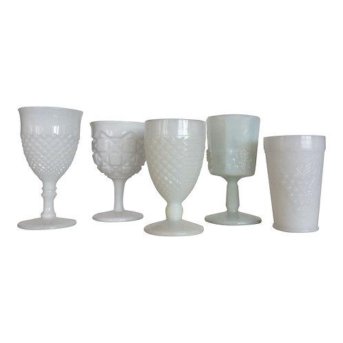 White Milk Glass Goblet
