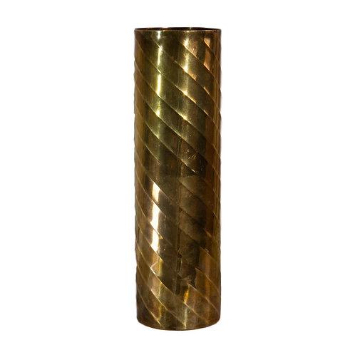 MCM Tall Brass Cylinder Vase