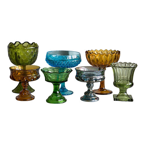 Colored Glass Pedestal Bowl Collection
