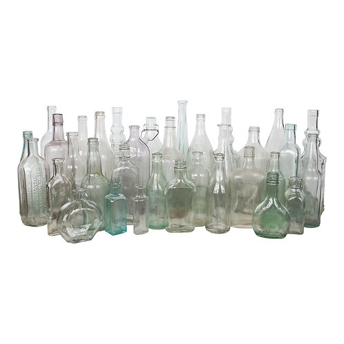 Assorted Vintage Clear/Sea Glass Bottles