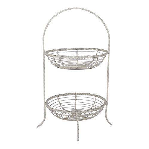 White 2-Tiered Basket Stand
