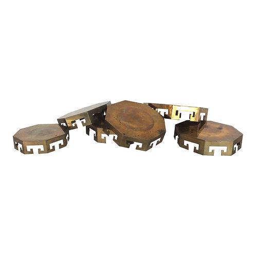 Brass Pillar Candle Plates (Set of 6)