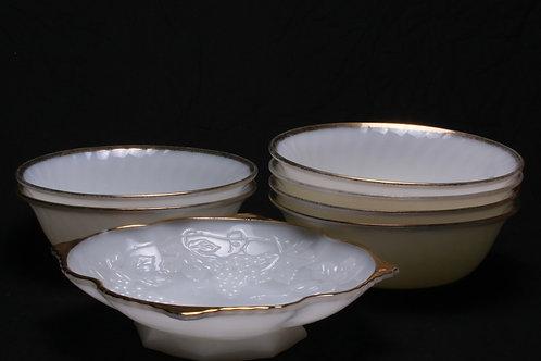 Milk Glass Bread/Serving Bowl