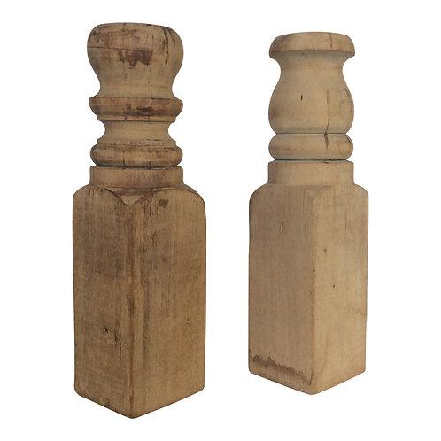 Wood Post Candlesticks (Set of 2)