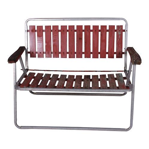 Weathered Red Garden Bench