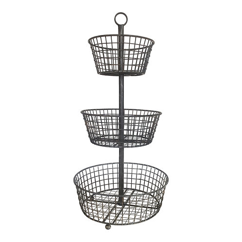 Metal 3-Tiered Basket Stand