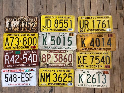 Assorted Vintage License Plates (set of 5)