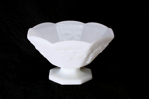 Milk Glass Pedestal Serving Bowl