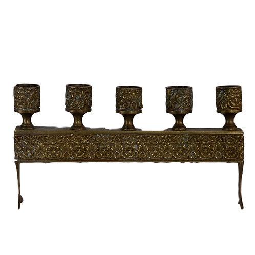 Ornate Brass 5-Taper Candleholder