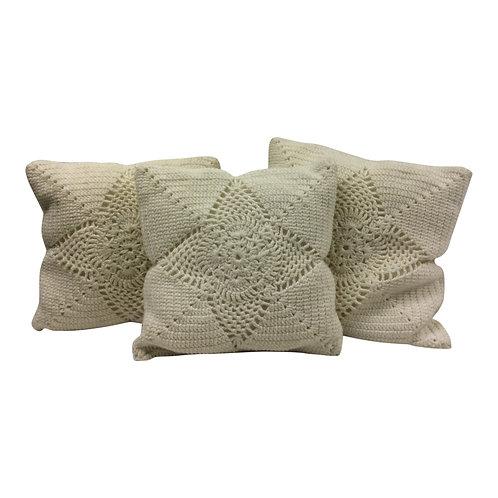 Ivory Crochet Pillows (Set of 3)