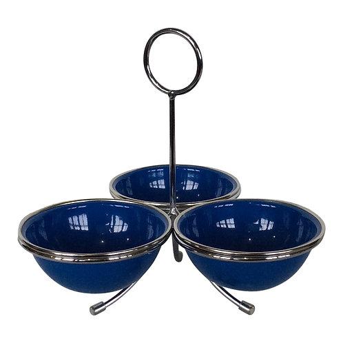 Blue 3-Bowl Server