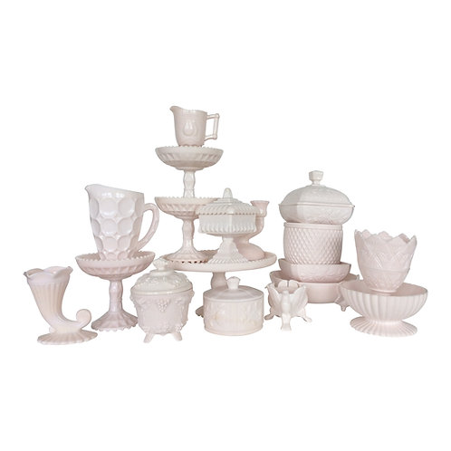 Pink Milk Glass Collection