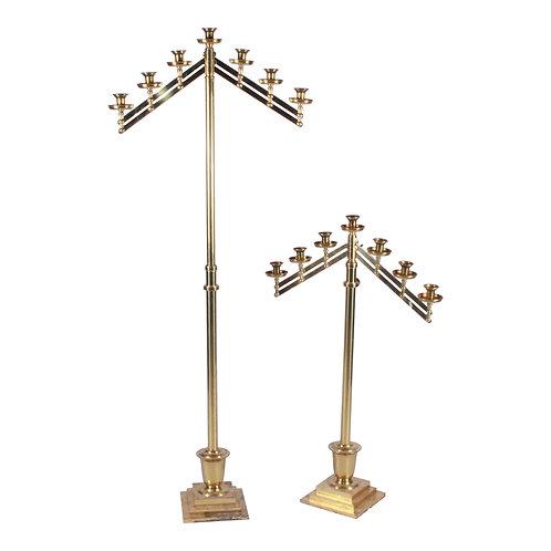Gold 7-Taper Floor Candelabras (set of 2)