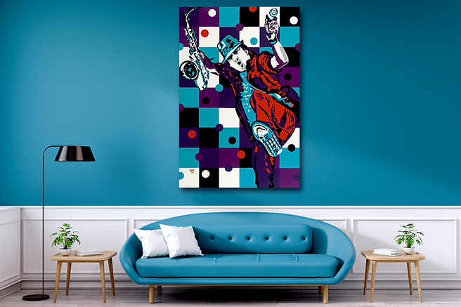 SAXMAN SPY Contemporary Pop Rock Artwork for Modern Home Interior | Original Canvas Painting For Sale by Artist Anita Nevar.