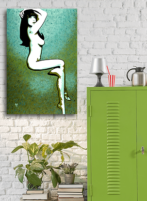 MISS DAISY Green Pop Erotic Artwork for Modern Home Interior | Fine Art Prints For Sale by Artist Anita Nevar.