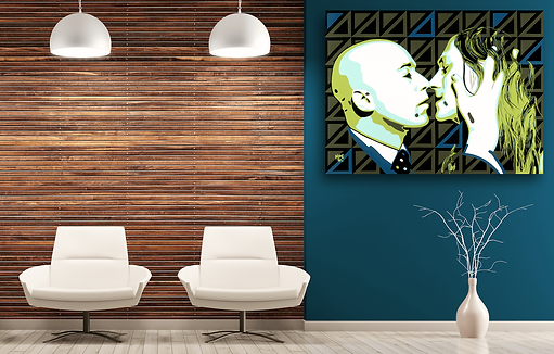 THE BUSINESS MAN Gay Pop Erotic Artwork for Modern Home Interior | Original Canvas Painting For Sale by Artist Anita Nevar.