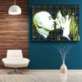 Contemporary Abstract Wall Gay Art Modern Home Décor Green   Original Artwork THE BUSINESS MAN by Erotic Artist Anita Nevar.