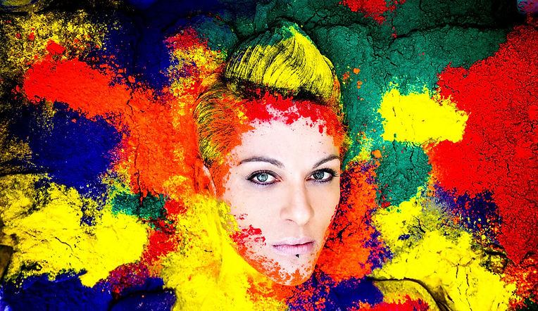 Anita Nevar Pop Erotic Artist | Coloured Powder Portrait | Image by Chrissie Hall Photography.