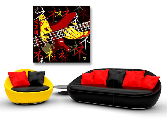 SMA Contemporary Pop Rock Artwork in Modern Home Interior | Private Commissions by Artist Anita Nevar.