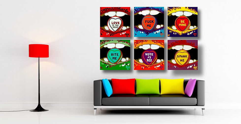 CANDY ADDICT Mural Original Canvas Paintings | Pop Erotic Artwork For Sale by Artist Anita Nevar.