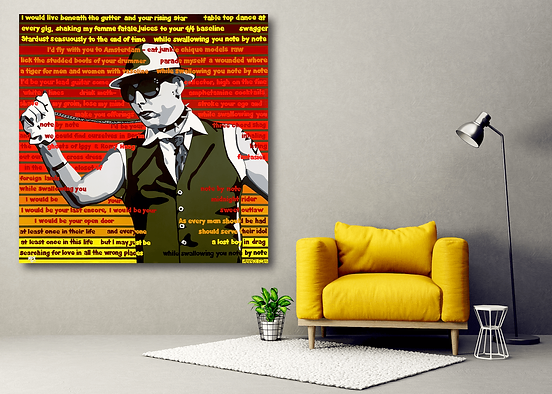 ROCK N ROLL GIRLFRIEND Gay Pop Erotic Artwork for Modern Home Interior | Original Canvas Painting For Sale by Artist Anita Nevar.