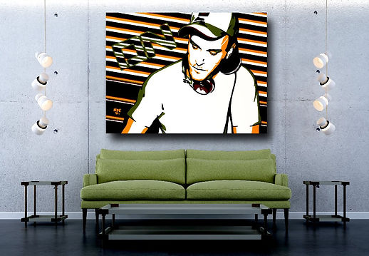 SOMETHING 4 YA MIND Contemporary Pop Rock Artwork in Modern Home Interior | Private Commissions by Artist Anita Nevar.