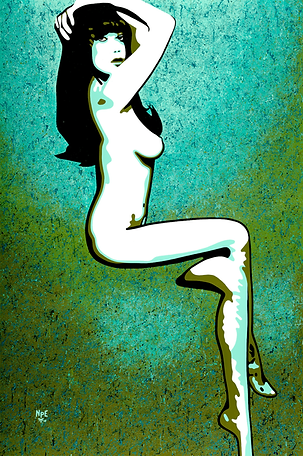 MISS DAISY Green Fine Art Prints For Sale | Pop Erotic Artwork by Artist Anita Nevar.
